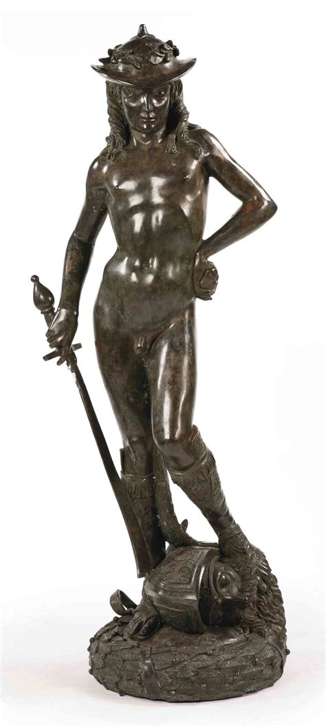 A BRONZE FIGURE DEPICTING DAVID , AFTER A MODEL BY