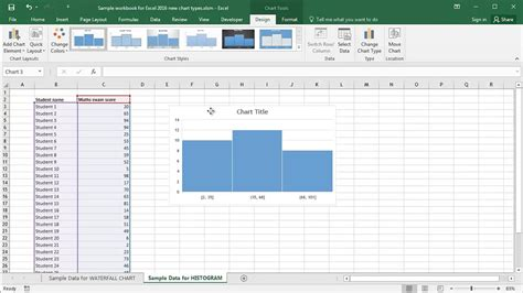 Microsoft Excel 2016: Creating Histogram Charts - Part One