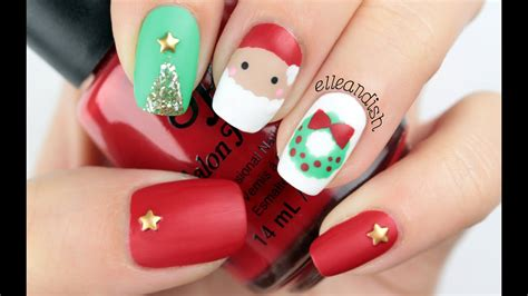 Freehand Matte Christmas Nails - YouTube
