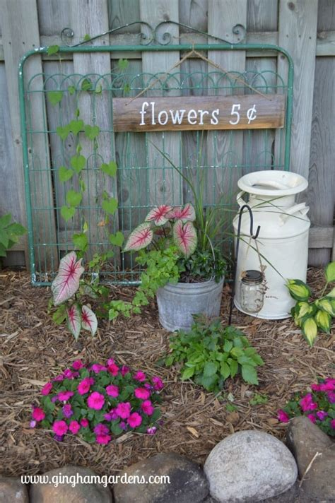 Upcycled Vintage Garden Decor - Gingham Gardens